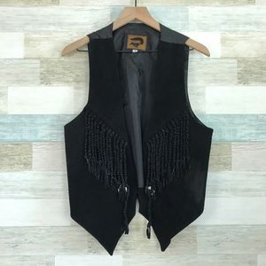 Leather Cowboy Vest Black Tassels Vintage FoxRun
